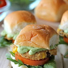 Southwest Quinoa Sliders with Avocado Cream Sauce