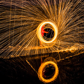 Reflecting circle by Jason Griffiths - Abstract Fire & Fireworks ( #sparklingreflection, #firereflection, #steelwool, #ringoffire, #funwithsparks )