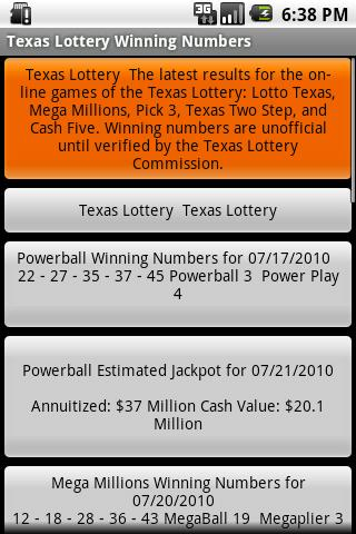 Texas Lottery Winning Numbers