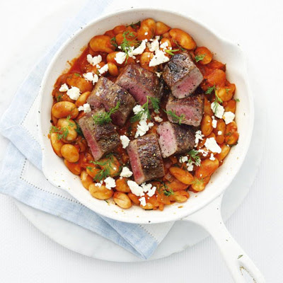 Greek Beans With Seared Lamb
