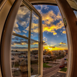 Sunset window by Barry Jones - Buildings & Architecture Homes ( , color, colors, landscape, portrait, object, filter forge )