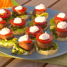 Mini Moroccan Lamb Burgers on Brioche Rounds with Lemon Yogurt Sauce