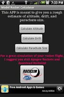Screenshot of Model Rocket Calculator