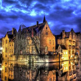 Beautiful Brugge by Lorraine Paterson - City,  Street & Park  Vistas ( blue, belgium, bridge, belfry, brugge, canal )