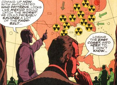 Richard Nixon frente a una pantalla gigante, con un mapa del continente americano, y su asesor de seguridad, quien le explica los impactos de un conflicto nuclear abierto con la URSS
