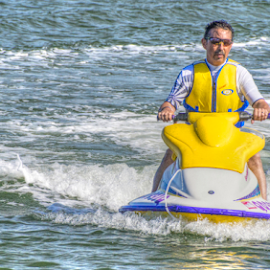 Across the Water by Petra Bensted - Sports & Fitness Watersports ( water, watersport, jet ski, action, summer, fun, yellow )