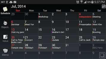 Screenshot of AA Task (Schedule & Memo)