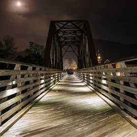 Light From Darkness by Chris Reynolds - Buildings & Architecture Bridges & Suspended Structures ( west virginia, long exposure, night, bridge )