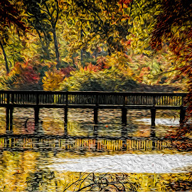 by Gene Myers - Digital Art Places ( photoshop painting, nature, autumn, colors, fall, lake maury, trees, virginia, bridge )