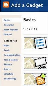 Список Google гаджетов в Blogspot