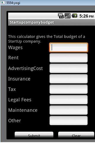 StartUpCompanyBudgetCalculator