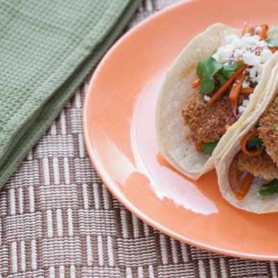Nopales Tempura Tacos with Chipotle Vegetables & Cotija Cheese