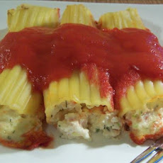 Manicotti Shells Filled With Cheese and Smoked Salmon Bits