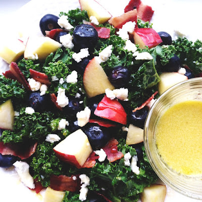 Bacon Apple Blueberry Goat Cheese Kale Salad with Dijon Lemon Dressing