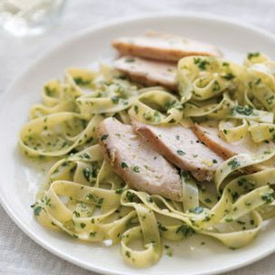 Tagliatelle with Cilantro Pesto and Chicken