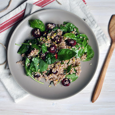 Farro and Cherry Salad with Champagne Vinaigrette