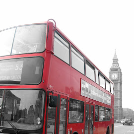 London Red Bus and Big Ben by Christie Houston - Transportation Other ( Urban, City, Lifestyle )