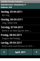 Screenshot of Familie Portalen Kalender