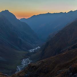 Dusk at Rupin by Krishnan Naganathan - Landscapes Mountains & Hills ( rupin, himalaya, valley )