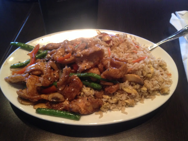 Gf sesame chicken with fried rice.
