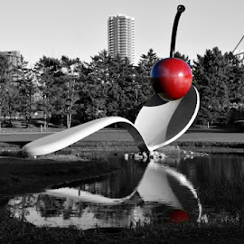 Spoonbridge by Chandra Whitfield - Buildings & Architecture Statues & Monuments ( water, cherry, minneapolis, spoonbridge, spoon, photography, city )
