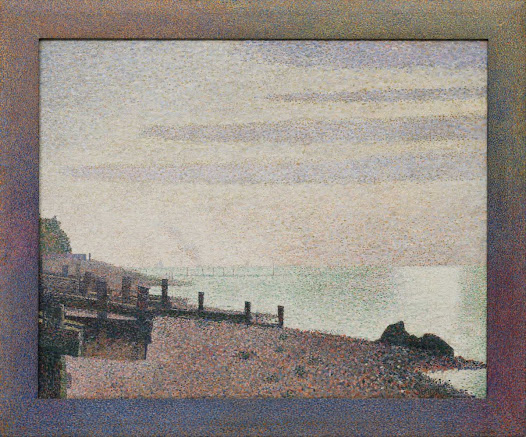 "From MoMA.org: Seurat spent the summer of 1886 in the French coastal town of Honfleur in order to ""wash the light of the studio"" from his eyes, he said. He meticulously applied at least twenty-five colors here, in the form of thousands of dots carefully placed on the canvas. Long bands of clouds echo the horizon and the breakwaters on the beach. The vast sky and tranquil sea meet at the horizon line, bringing a sense of spacious light to the picture; yet from up close they also have a peculiar visual density. Seurat added the wooden frame later, hand-painting it with the same technique to add greater luminosity and suggest the extension of the image past its boundaries."