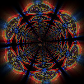 Through The E.L.O. Worm Hole by Vince Scaglione - Digital Art Abstract ( music, famous, worm, electric, art, rock, elo, orchestra, group, digital, light, hole )