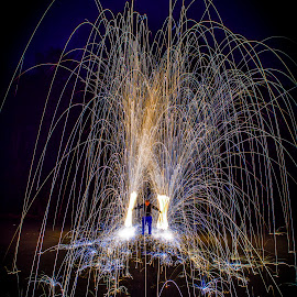 Dual Wield by Brent Sharp - Abstract Light Painting ( light painting, steel wool, night, long exposure, sparks,  )