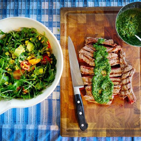 Chimichurri T-Bone & Blackened Corn Salad