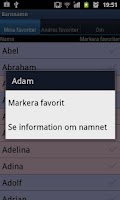 Screenshot of Swedish baby names