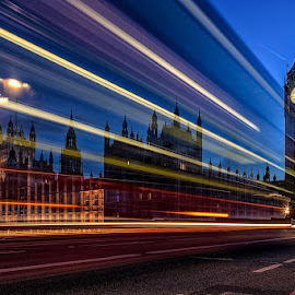 Time Passes By by CK Lam - City,  Street & Park  Night ( thames river, uk, london, clock tower, sunset, elizabeth tower, westminster, big ben, united kingdom )