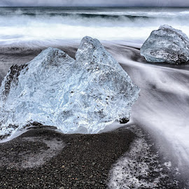 Ice Ice Baby by CK Lam - Nature Up Close Other Natural Objects ( south iceland, iceberg, breidamerkursandur, iceland, waves, ice, black sand beach, jökulsarlon, long exposure, beach, seascape )