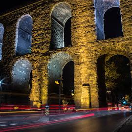 Aqueduct lightrails by Darko epa Trajkovski - City,  Street & Park  Historic Districts ( lights, aqueduct, night, istanbul, lightrail )