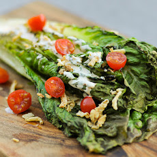 Grilling: Romaine Salad with Spicy Ranch, Tomatoes, and Fried Onions