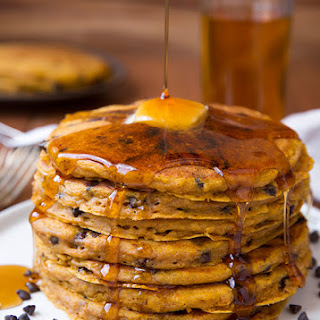 Pumpkin Oat Chocolate Chip Pancakes