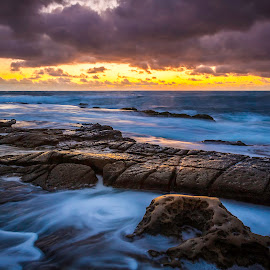 Hospital Reef 2 by Clifford Swall - Landscapes Beaches ( water, stormy beach, la jolla cove, potholes la jolla, long exposure beach, sea, long exposure, ocean, beach, rocks, potholes, hospital reef )