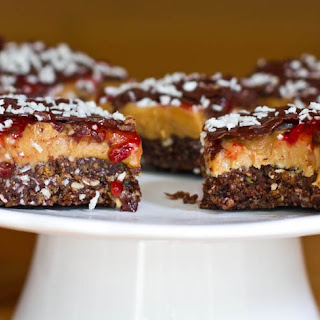 Peanut Butter and Jam Nanaimo bars