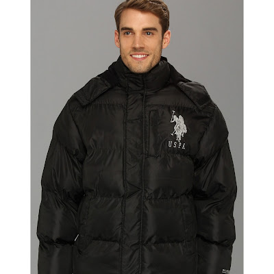 U.S. Polo Assn - Classic Short Bubble Coat w/ Big Pony (Black) - Apparel