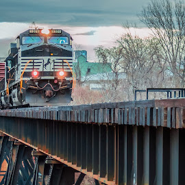 Hold on by Michael Wolfe - Transportation Trains ( freight train, train pics, bridge, norfolk & southern, trai trestle,  )