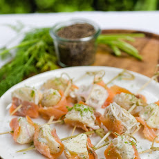 Smoked Salmon & Potato Skewers with Dill & Shallots