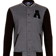 Topman Charcoal Textured A Badge Varsity Jersey Bomber Jacket