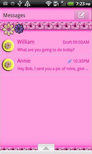 GO SMS THEME PinkDaisies4U