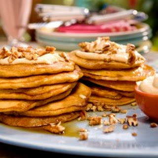 Carrot Cake Pancakes with Maple-Cream Cheese Drizzle and Toasted Pecans