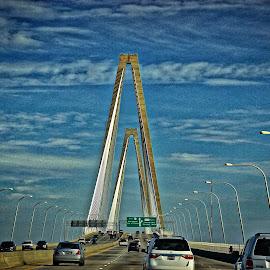 Bridge in HDR by Jim Antonicello - Buildings & Architecture Bridges & Suspended Structures ( clouds, sky, cars, bridge )
