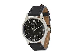 Victorinox - Alliance Swiss (Black/Black Leather Strap) - Jewelry