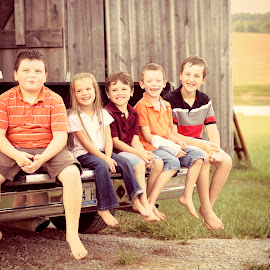 Children by Shelby Hale - People Family ( tailgate, truck, barns, kids, country )