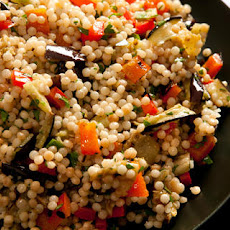 Grilled Eggplant and Red Pepper with Israeli Couscous