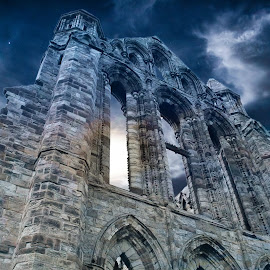 Whitby abbey by Leon Chester - Buildings & Architecture Decaying & Abandoned ( building, ruins, castle, night, architecture, nightscape )