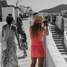 How to stand out in a crowd by Vibeke Friis - City,  Street & Park  Street Scenes ( woman, tight, orange dress, selective color, pwc )