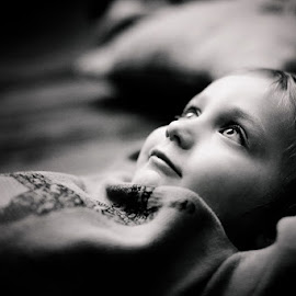 Just Thinking by Sharon Fuscellaro Canale - Babies & Children Children Candids ( child, thinking, black and white, male, thought, four, boy )